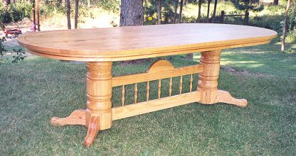 Red Oak Dining Table made from solid wood