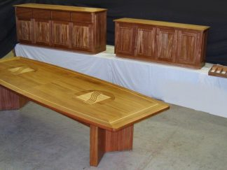 African mahogany Conference table and Credenzas suite