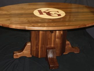 Law Firm black walnut oval conference table with logo