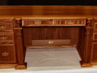 Hand Carved Ribbon Mahogany Wood Presidents Desk