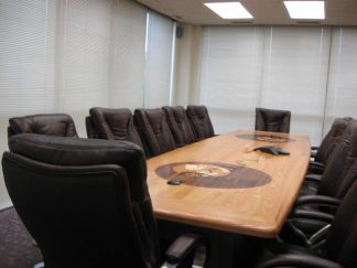 solid oak conference tables with logos