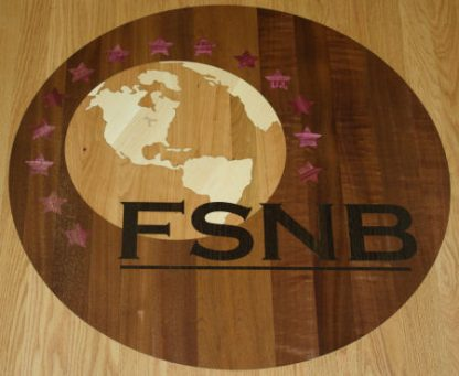 Custom solid wood inlaid conference table-world globe logo