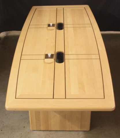 Maple conference table with walnut inlay