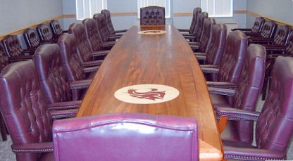 WSU inlaid mahogany conference table built by Specialty Woods