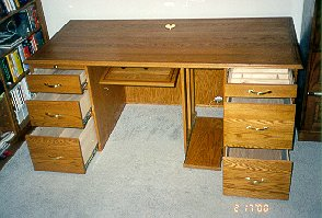 Custom made red oak home office desk