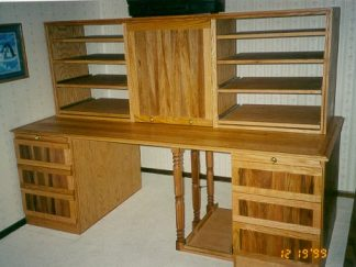 Custom made home office executive red oak desk