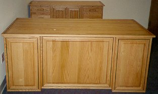 Red oak executive desk and credenza office set