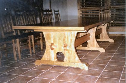 Cherry Wood Trestle Table Pedestal custom made by Specialty Woods