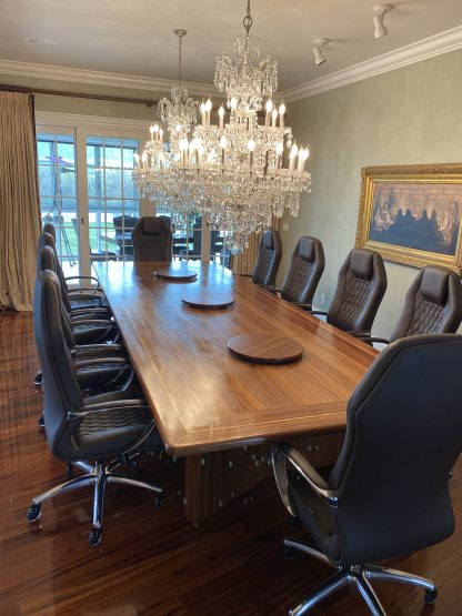 Fine Dining Room Conference Table made from Solid Sapele Hardwood
