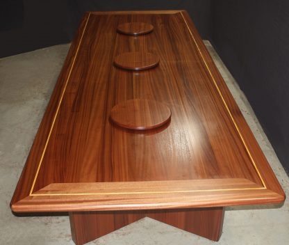 Solid Wood Dining Room Conference Table with lazy susan's built from Sapele Hardwood